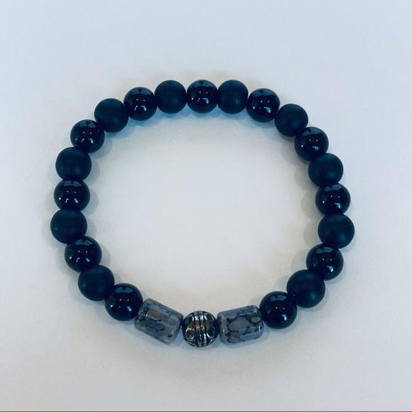 "Onyx, Obsidian, & Dinosaur Bone Bracelet 6.5"""